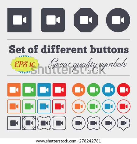 Video camera  icon sign Big set of colorful, diverse, high-quality buttons. Vector illustration - stock vector