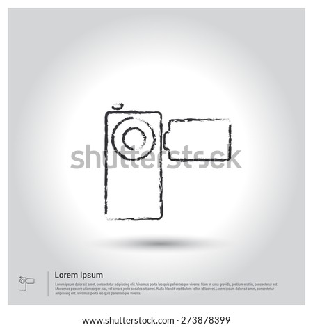 Video Camera Icon, Sketch Doodle pictogram icon on gray background. Vector illustration - stock vector