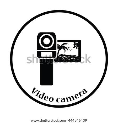 Video camera icon. Thin circle design. Vector illustration. - stock vector