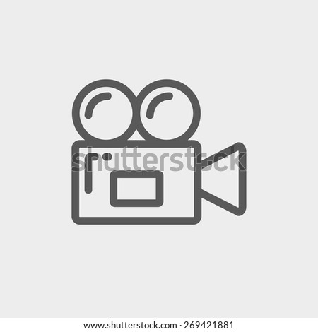 Video camera icon thin line for web and mobile, modern minimalistic flat design. Vector dark grey icon on light grey background. - stock vector