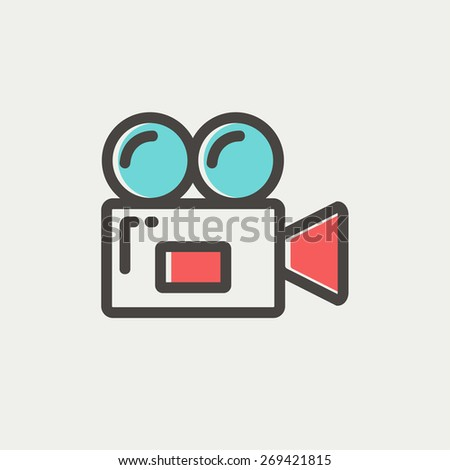 Video camera icon thin line for web and mobile, modern minimalistic flat design. Vector icon with dark grey outline and offset colour on light grey background. - stock vector