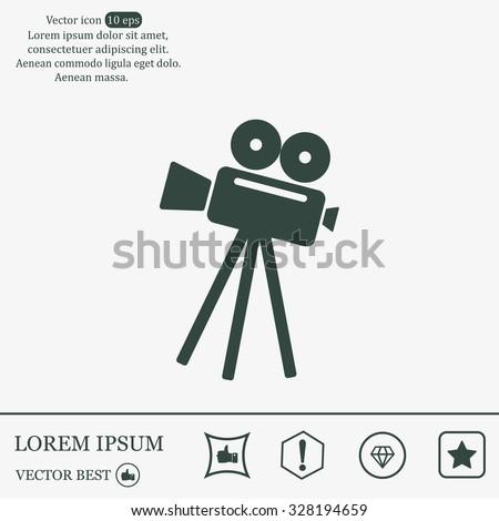 Video camera icon vector - stock vector