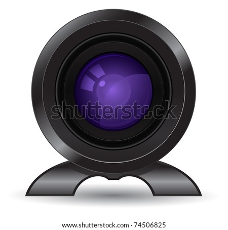video camera lens icon - stock vector