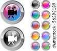 Video camera multicolor glossy round web buttons. - stock vector