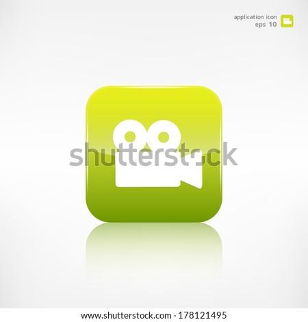 Video camera web icon. Application button. - stock vector