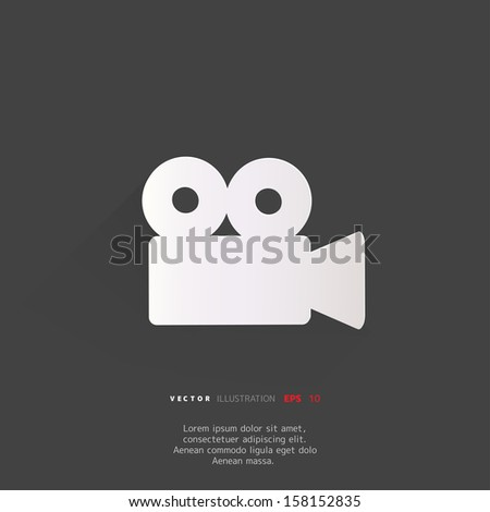 Video-camera web icon, flat design - stock vector