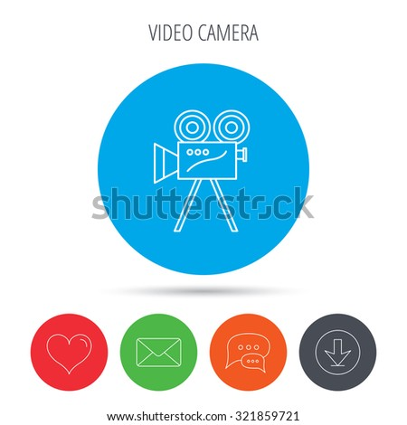 Video camera with reel icon. Retro cinema sign. Mail, download and speech bubble buttons. Like symbol. Vector - stock vector