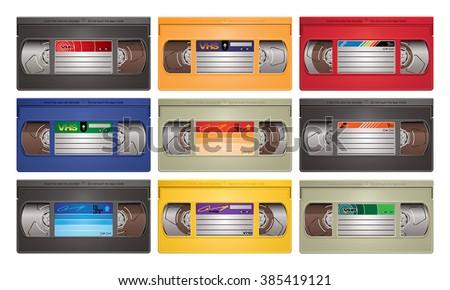 Video cassette tape vector illustration - stock vector