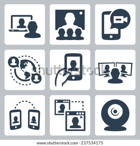 Video conference and communication related vector icon set - stock vector