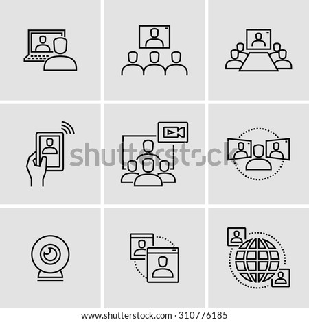 Video conference call communication vector icons   - stock vector