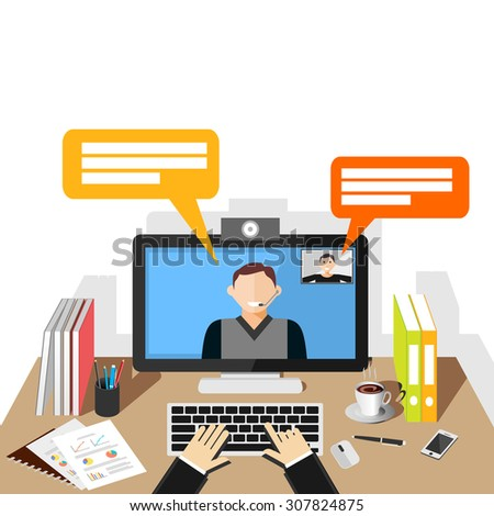 Video conference illustration. flat design. Video call.  - stock vector