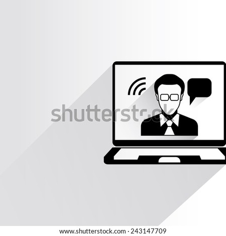 video conference on white background, flat and shadow theme