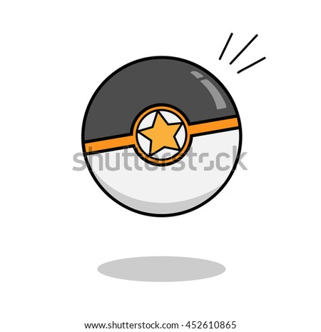 Video Game Ball, a hand drawn vector illustration of a pokeball - stock vector