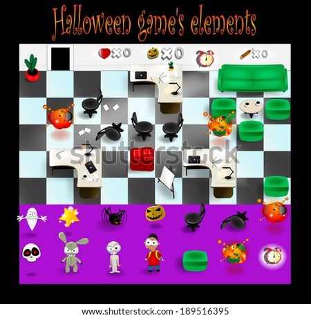 Video game elements. Vector eps 10 - stock vector