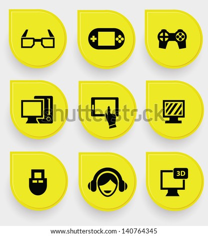 Video game icons on yellow button,vector - stock vector