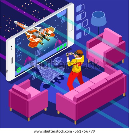 Video game screen & gamer person playing online console controller on android phone computer. 3D Isometric People game icon set. Creative background design development vector wallpaper illustration