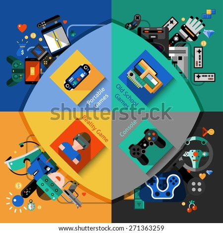 Video games design concept set with portable old school reality and console flat icons isolated vector illustration - stock vector