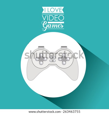 Video games design over blue background, vector illustration