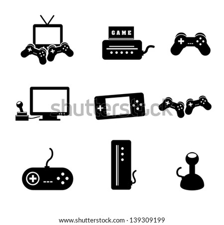 video games icons over white background vector illustration - stock vector