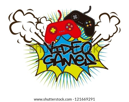 video games with game pads background. vector illustration - stock vector