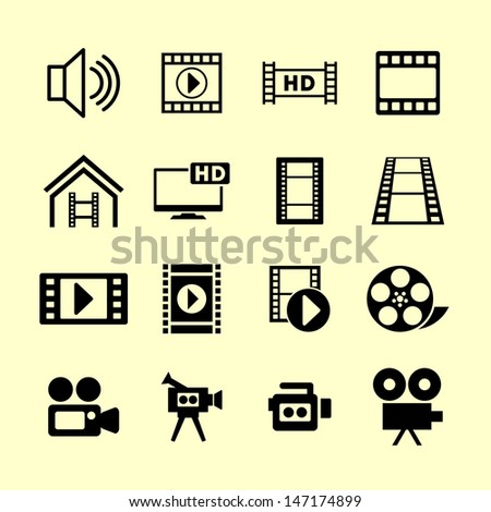Video icons - stock vector