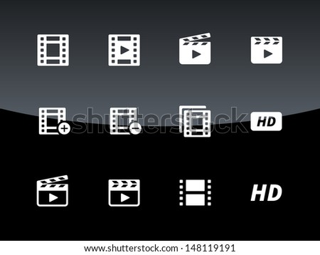 Video icons on black background. Vector illustration. - stock vector
