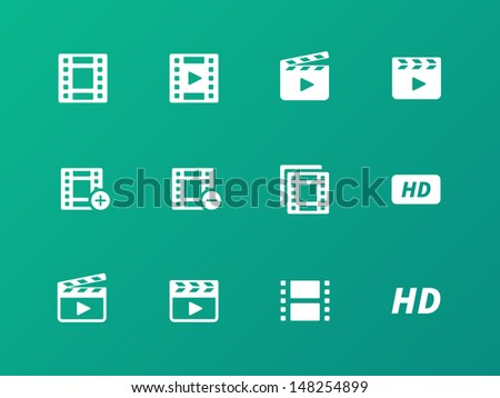 Video icons on green background. Vector illustration. - stock vector