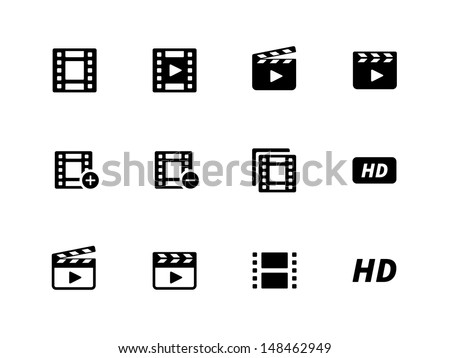 Video icons on white background. Vector illustration. - stock vector