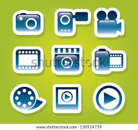 video icons over green background. vector illustration