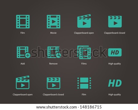 Video icons. Vector illustration. - stock vector