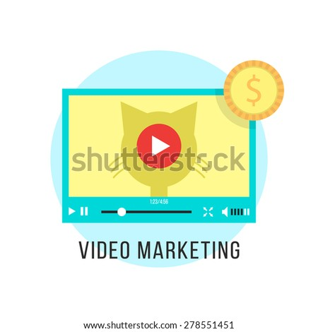 video marketing and income from popular content. concept of advertise, promo, startup idea, seo, promotional, profit. isolated on white background. flat style trend modern design vector illustration - stock vector