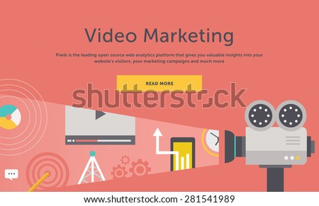 Video marketing. Approaches, methods and measures to promote products and services based on video. For web construction, mobile applications, banners, corporate brochures, book covers, layouts etc - stock vector
