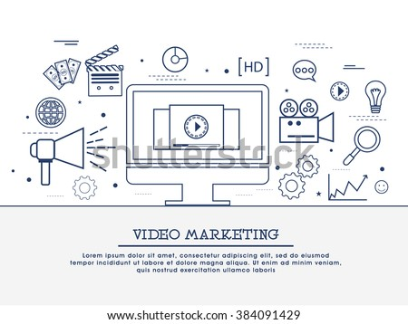 Video marketing strategy, showing product overview, creating explainer video, promoting business, increasing sale concepts web banner, hero image, website header. Line art vector illustrations. - stock vector