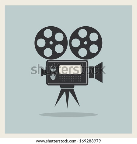 Video Movie Camera on Retro Background vector - stock vector