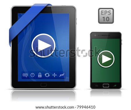 Video on mobile devices. Tablet PC and Smart phone. EPS10 vector illustration - stock vector