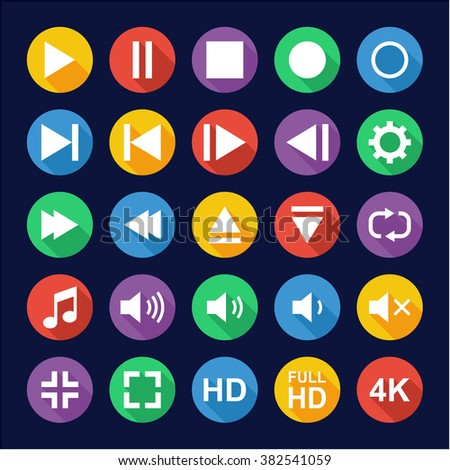Video Or Music Or Camera Button Icons Flat Design Circle