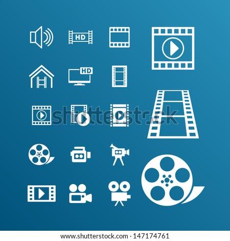 Video pictogram - stock vector