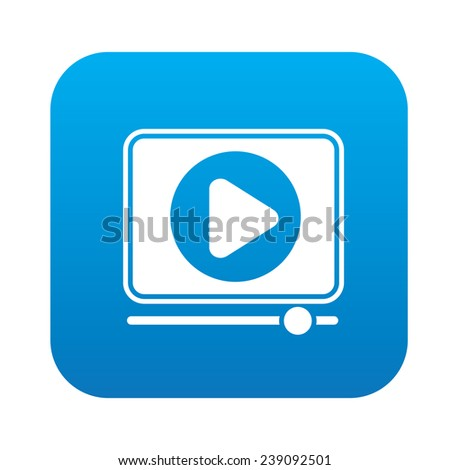 Video play on blue flat button,clean vector - stock vector