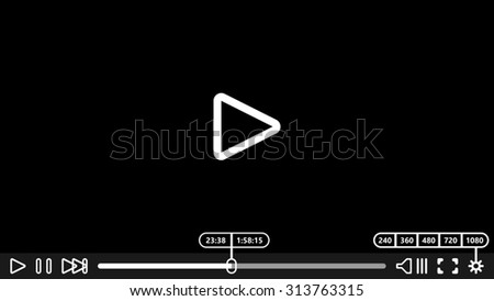 Video player for web and mobile apps. Vector illustration. Media Player Design. - stock vector