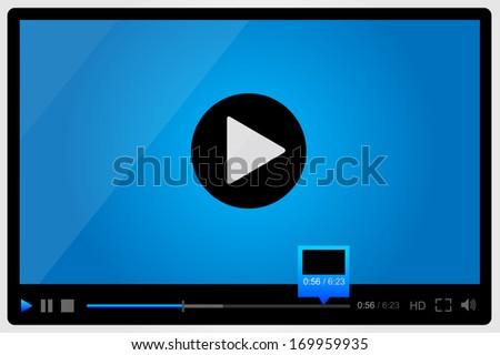 Video player for web, minimalistic design - stock vector