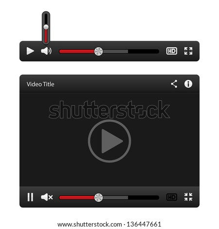 Video player for web Vector isolated on white - stock vector