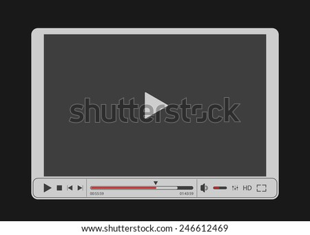 Video player for web with gray screen. Isolated on black background. Vector illustration, eps 8. - stock vector
