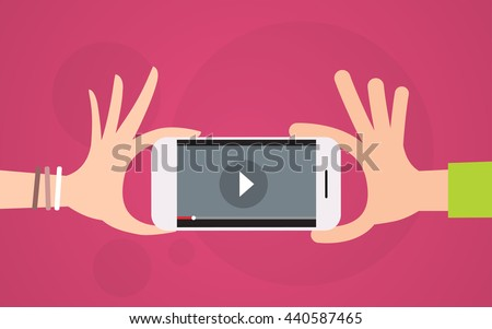 Video Player Hand Hold Cell Smart Phone Flat Vector Illustration - stock vector