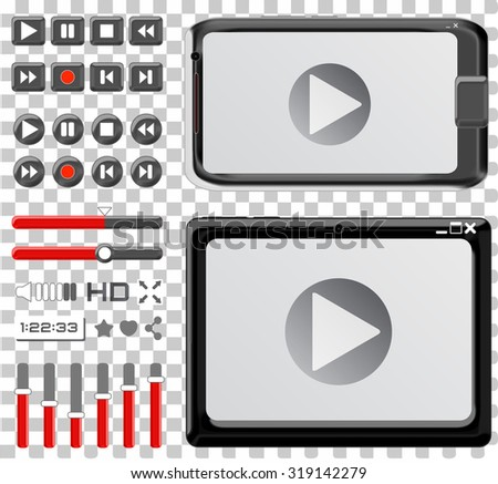 video player interface - media, buttons and control - stock vector