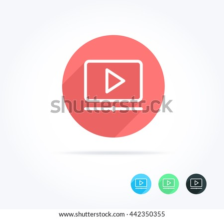 Video Player Long Shadow Icon