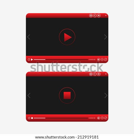 Video player red design - stock vector