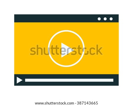 Video player vector illustration. Video player isolated on white background. Video player vector icon illustration. Video player isolated vector. Video player silhouette - stock vector