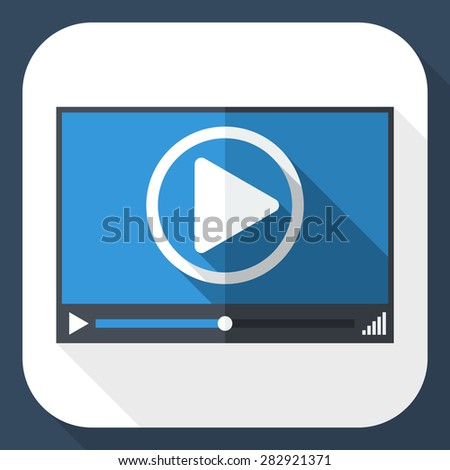 Video player window with long shadow - stock vector