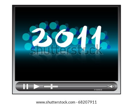 video player with year 2011 - stock vector