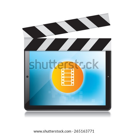 Video production and digital tablet on white background - stock vector